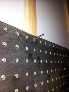 pegboard held up with nails